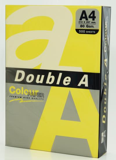 Hartie color pentru copiator A4, 80g/mp, 25coli/top, Double A - lemon intens