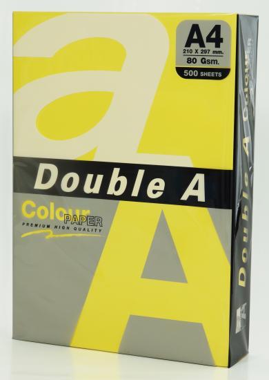 Hartie color pentru copiator A4, 80g/mp, 100coli/top, Double A - lemon intens