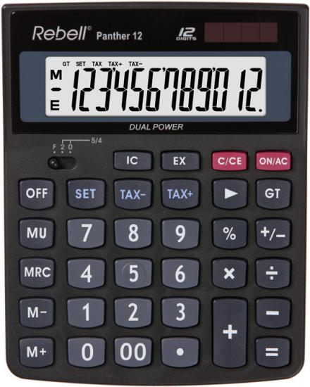 Calculator de birou, 12 digits, 147 x 115 x 32 mm, Rebell Panther 12 - negru