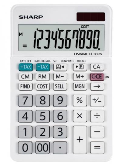 Calculator de birou, 10 digits, 152 x 94 x 28 mm, dual power, SHARP EL-330W - alb