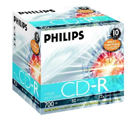 CD-R 700MB-80min Jewelcase, 52x, printabil, PHILIPS