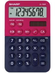 Calculator de buzunar, 8 digits, 120 x 76 x 23 mm, dual power, SHARP EL-760R-RB - rosu/bleumarin