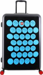 Troller 28 inch, material ABS, LEGO Brick Dots - negru cu puncte albastre